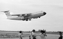 1975 The ill-fated C-5A Galaxy 68-0218 lifts off from Tan Son Nhut Air Base, South Vietnam, 4pm Fri 4 April 1975