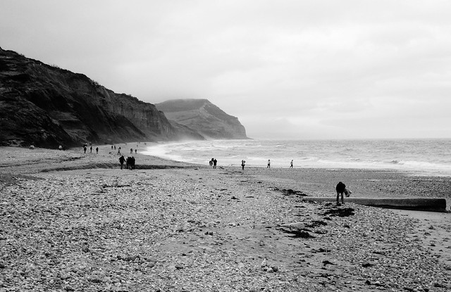 Brave souls at Charmouth West Dorset England