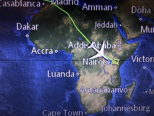 Map as we flew over Nairobi
