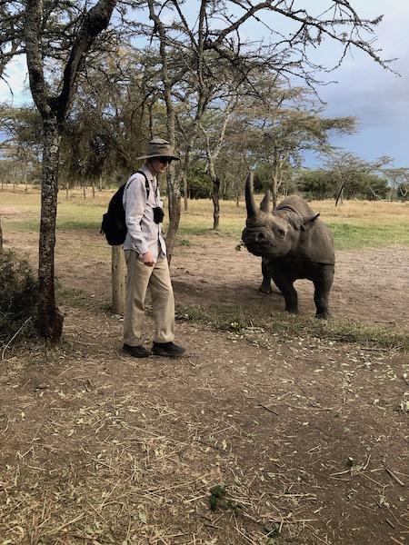 Rhino feeding at Ol Pejeta