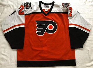 1991-92 Ron Hextall Philadelphia Flyers Away Jersey Front | by Spudrock's Hockey Jerseys
