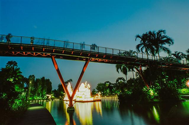 Bridge and floating lanterns