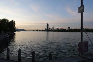 Sunset at Hilton Danube waterfront (1), Vienna Austria 15 September 2019.  Sony RX100M3.