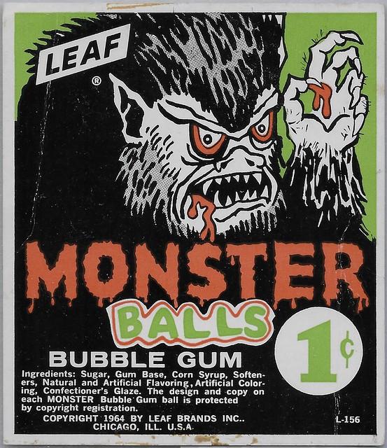 1964 Monster Balls Gumball Machine Card