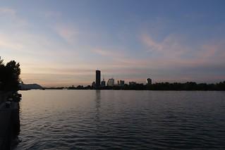 Sunset at Hilton Danube waterfront (2), Vienna Austria 15 September 2019.  Sony RX100M3.
