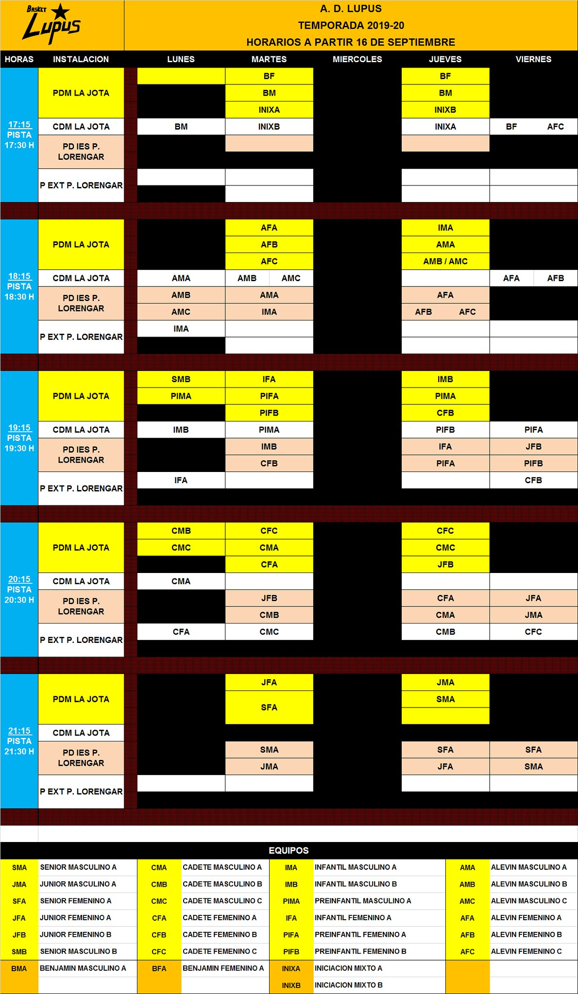 2019-20 Horario entrenamientoS deinitivo