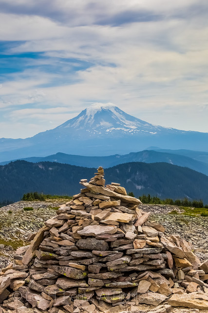 Cairn along PCT and Mount Adams in the Goat Rocks Wilderness