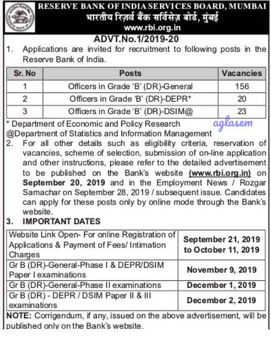 RBI Grade B Notification 2019 Out! Registration to start @ rbi.org.in from 21 Sept