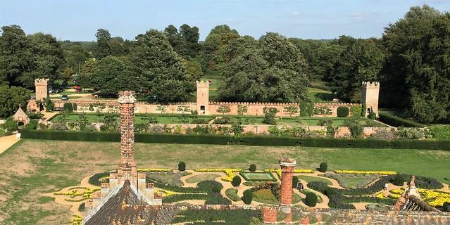 Oxburgh Hall Gardens.  Panorama