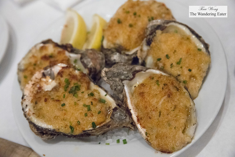 Stuffed P&J Oysters with gulf shrimp and blue crab and cheese