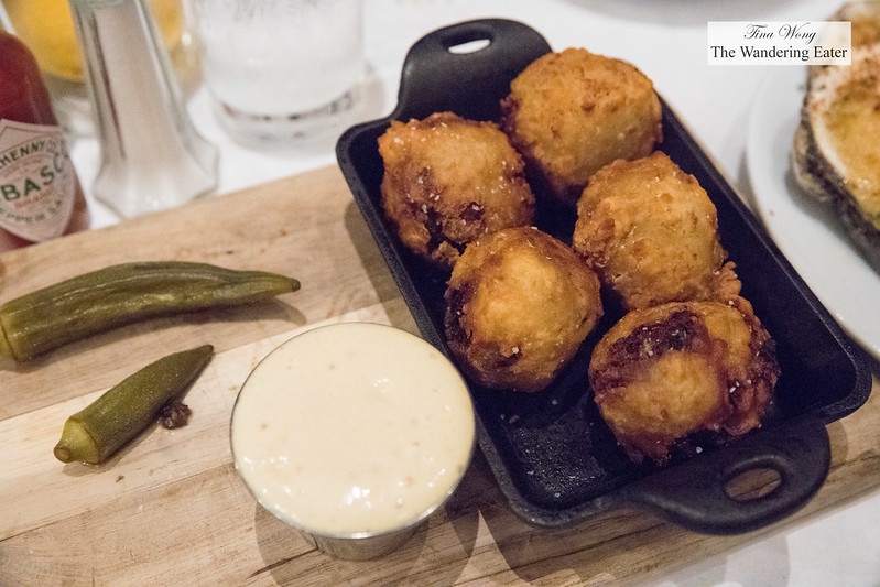 Buttermilk fried boudin, Creole dijonnaise, pickled okra