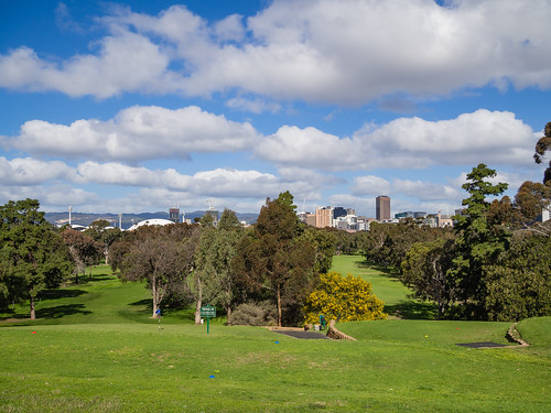 adelaide adelaidecbd adelaideparklands parkland park openspace green tree foliage golf golfcourse city cityscape urban downtown town cbd cityview cloud sky afternoon olympusem10 olympus olympusomd microfourthirds southaustralia sa australia lookout pleasant view skyline landscape