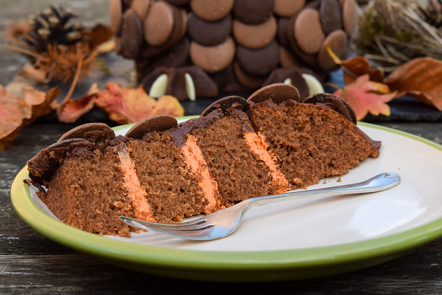 Chocolate Orange Owl Halloween Cake with Hidden Orange Frosting