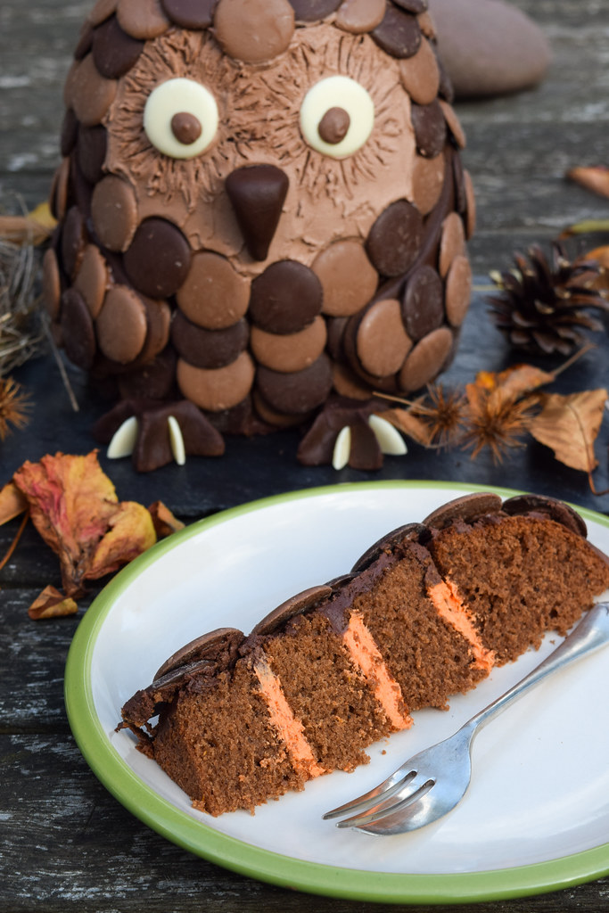 Chocolate Orange Owl Halloween Cake with Hidden Middle