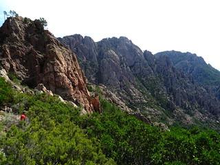 Dans la montée finale : le chemin et Punta di Monte Sordu