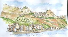 Taormina, seen from Giardini Naxos, Sicily