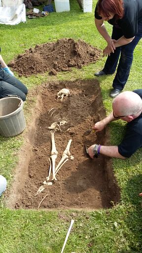 A forensic archaeologist carefully excavates a skeleton