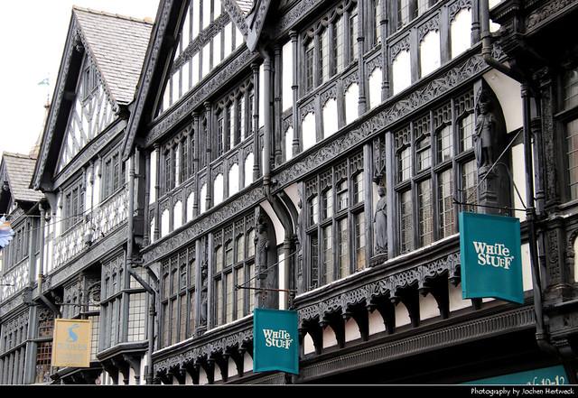 Tudor houses along Eastgate Street, Chester, UK