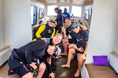 Marcia, Stella, Yogi, Andrew & Helen on boat