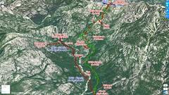 Photo 3D Google Earth du secteur Carciara - Paliri avec les chemins du Carciara (HR21) et de Paliri (HR31) en rouge et le trajet aller - retour en vert fluo de l'operata du 14/09/2019