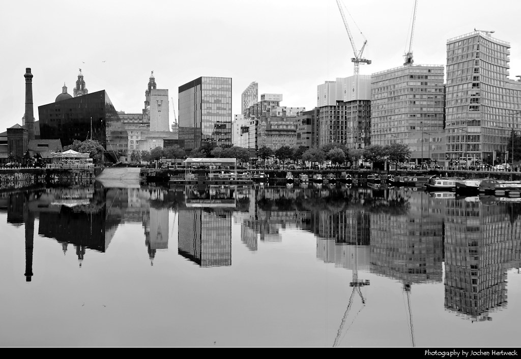 Skyline reflected in Salthouse Dock, Liverpool, UK