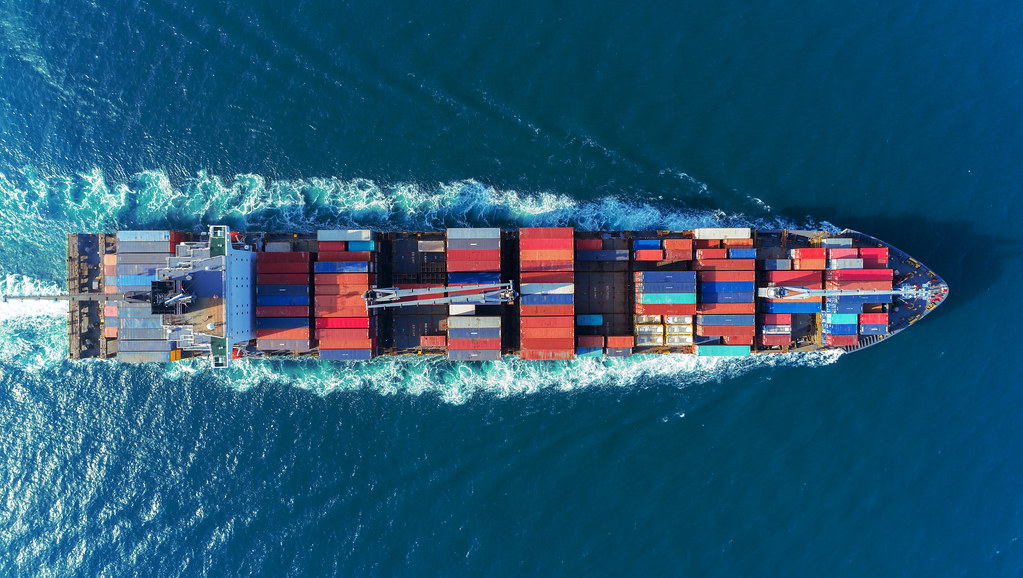 Bird's eye view of container ship