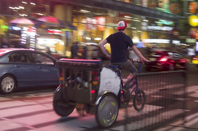 Riding a bike in Manhattan.