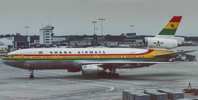 9G-ANA Ghana Airways DC-10-30 at FRA 1986 (Rescanned)