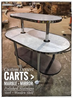 Hand-Crafted-Custom Dessert Serving Carts > made from Carrara Marble + Mirror-Polished-Stainless Steel and Dark Stained Hardwood Shelf ©️Randall Kramer-2019.
