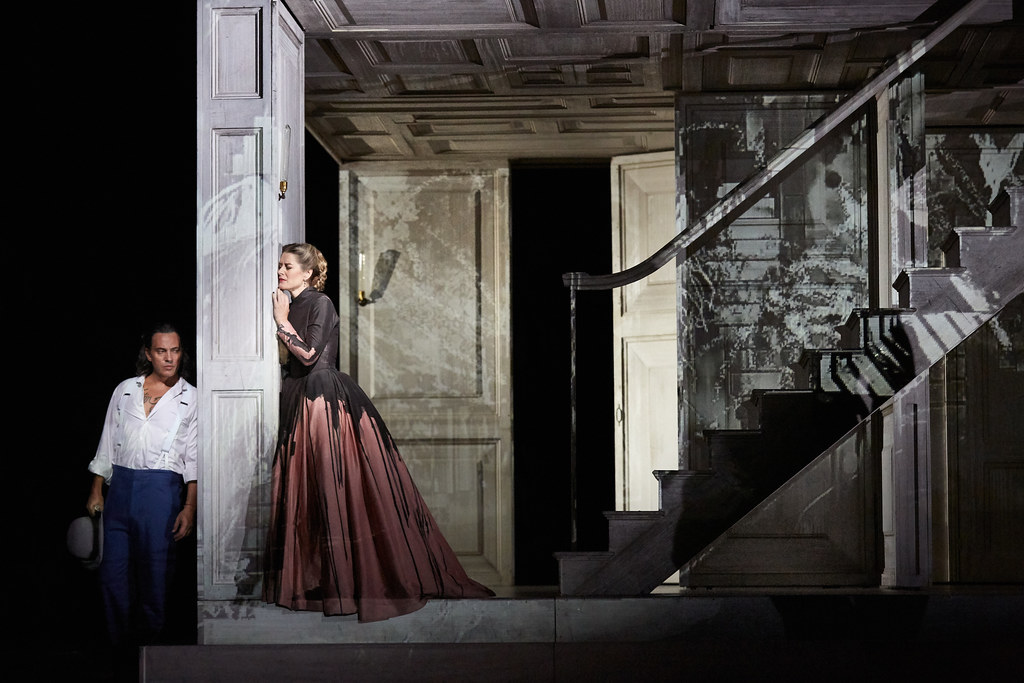 Erwin Schrott as Don Giovanni and Malin Bystrom as Donna Anna in Don Giovanni, The Royal Opera © 2019 ROH. Photograph by Mark Douet