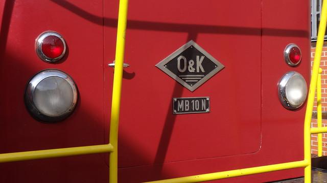 1967 Herstellerzeichen dieselhyraulische Rangierlok MB10N von Orenstein & Koppel/Lübecker Maschinenbau AG Werk-Nr. 26625 Am Lokdepot in 10965 Berlin-Schöneberg