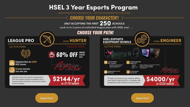 HSEL 3 Year Esports Program