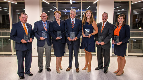 Jim Odom '55 mechanical engineering, Distinguished Auburn Engineer; Bobby Keith '63 mechanical engineering, Distinguished Auburn Engineer; Olivia Owen '77 civil engineering, Distinguished Auburn Engineer; Dan Bush '72 industrial engineering, Superior Service; Emily Doucette '06, '08, '12 aerospace engineering, Outstanding Young Auburn Engineer; Dale York '76 and '78 civil engineering, Distinguished Auburn Engineer; and Laura Kezar '08 chemical engineering, Outstanding Young Auburn Engineer.