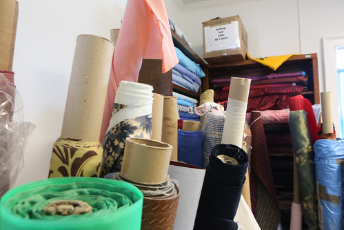 Bolts of cloth are stored in W&M Theatre's Costume Shop, which is temporarily being housed in the Galt houses at the Dillard Complex while PBK Hall is being renovated.