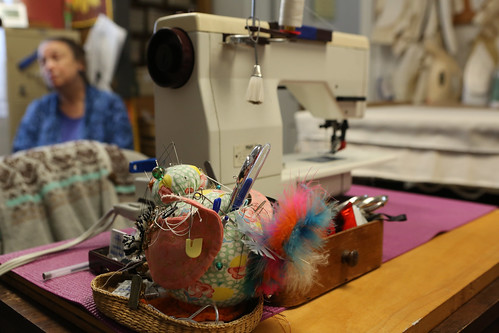 Prof. of Theatre Patricia Wesp '76 discusses the new location in the sewing room of W&M Theatre's Costume Shop, which is temporarily being housed in the Galt houses at the Dillard Complex while PBK Hall is being renovated.