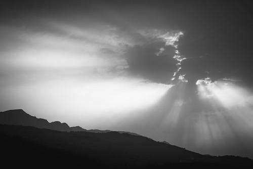 sky sun clouds cloud sunset light bw blackandwhite black white nature landscape hill mount mountain remembrance mystery travel summer samos greece