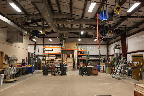 W&M Theatre's temporary Scene Shop at the Dillard Complex contains all of the work stations needed for the department to teach stagecraft and build sets for its performances.