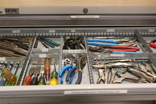 Tool drawers are organized and labeled to make finding things quick and easy at W&M Theatre's temporary Scene Shop at the Dillard Complex.