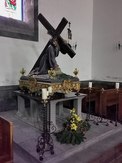 Capilla imagen Pasion de Cristo escultura interior Iglesia de Nuestra Señora de la Alegria municipio de Furnas Isla San Miguel Azores Portugal