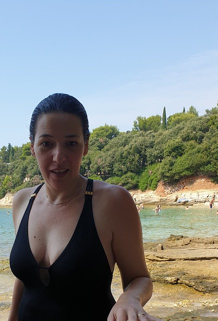 Just had a dip... Nina at Saccorgiana Beach Croatia