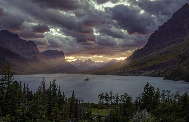 Prolific sunset at St Mary Lake, Glacier National Park