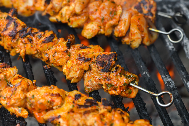 Aleppo Pepper and Mint Kebabs