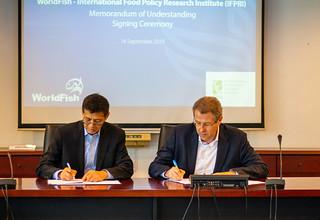 Memorandum of Understanding between WorldFish and IFPRI at WorldFish Penang, Malaysia. Photo by WorldFish