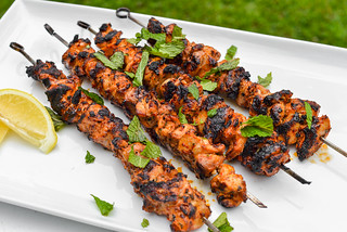 Aleppo Pepper and Mint Chicken Skewers