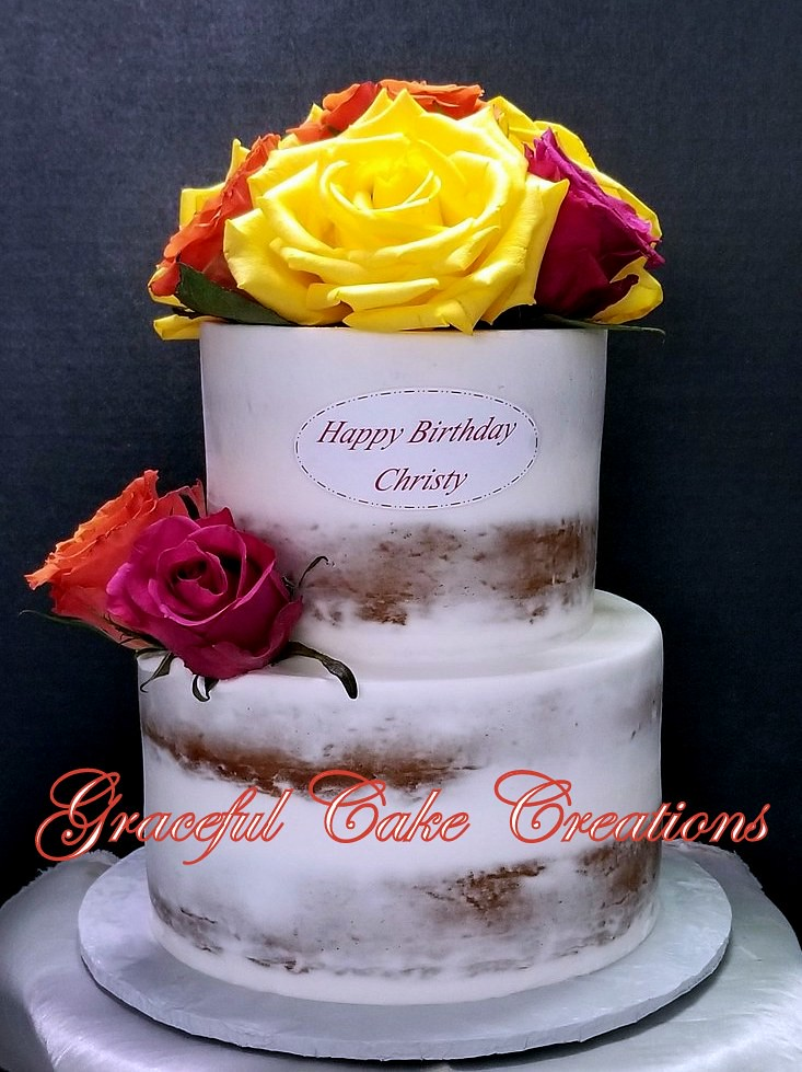 Tremendous Simple But Elegant Naked Birthday Cake With Fresh Yellow Pink And Funny Birthday Cards Online Bapapcheapnameinfo