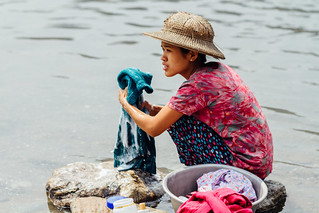 Woman Doing Laundry in River, Saw Myanmar