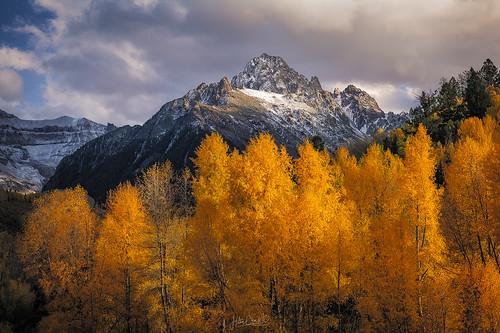 colorado sanjuanmountains aspentrees autumn fallcolors landscape mountsneffels sunset