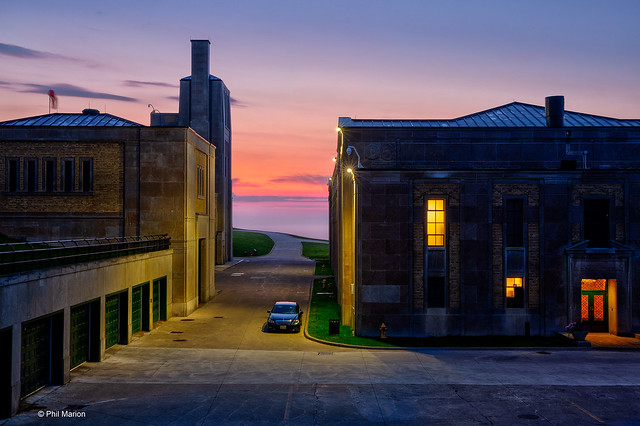 Before the sunrise over Lake Ontario - RC Harris Water Filtration Plant. Toronto