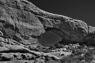 Exploring the North Window (Black & White, Arches National Park) | by thor_mark 