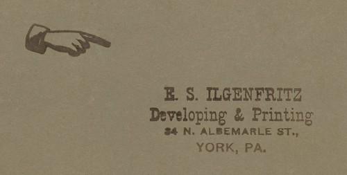 E. S. Ilgenfritz (1897-1937), Photo Developing and Printing, York, Pa.